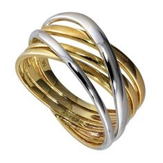 9ct two colour gold multi-strand ring