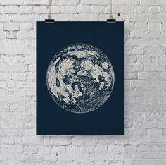 Full Moon Vintage Art Print Reproduction - Old Antique Lunar Illustration - Space Astronomy Art - La Luna - Dorm Poster - Moon Poster