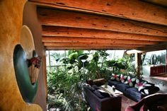 indoors outdoors no divide... so relaxing and wonderful, in an earthship living room