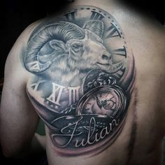 Realistic Aries Clock With Roman Numerals Back Tattoos