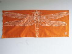 """akizu...dragonfly c/# orange  tenugui """"cu3"""""""