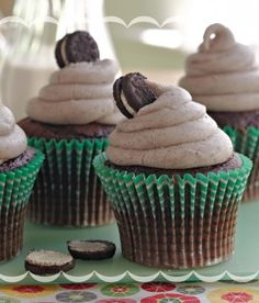 Cookies and Cream Cupcakes  Cookies and cream cupcakes with creamy vanilla frosting jam-packed with crushed cookies—just add a big glass of milk!