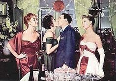 "Kay Kendall, Mitzi Gaynor and Taina Elg (with Gene Kelly) in ""Les Girls"". Wardrobe by Orry Kelly. Oscar winner. 1957."