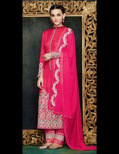 Magenta Georgette Pakistani Style Suit 61134
