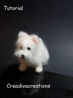 Needle felted dog, West Highland terrier, Westie, needle felted Westie, felt Westie, needle felt dog, miniature dog, dollhouse door Creadivacreations op Etsy