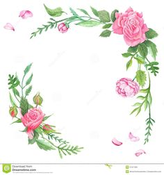 Vintage Watercolor Rose Corners Stock Illustration - Image: 57471361