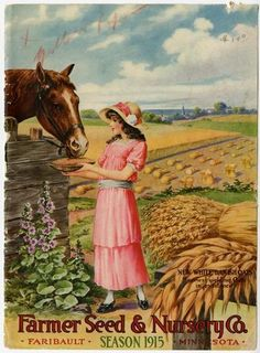 On the cover of this 1915 Farmer Seed & Nursery catalog, a very special horse is hand fed the first of the White Danish Oats harvested. Farmer Seed & Nursery originated in Faribault, MN in 1888; Andersen Horticultural Library has a collection of their vintage catalogs.