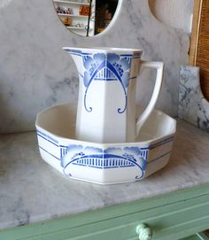 French Antique, Art Nouveau, Ceranord St Amand Pitcher and Bowl from the 1910s
