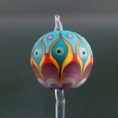Handmade lampwork 1 glass bead-Colorful-Dot Line-SINGLE BEAD-SRA | pikalda - Jewelry on ArtFire