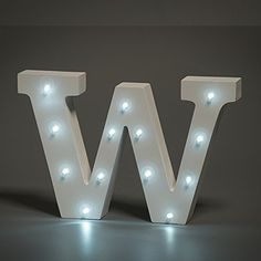 LED Wooden Letters Alphabet Sign Numbers Light Up Wood Decorative White Standing