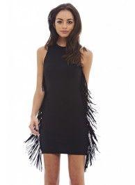 Black Bodycon Tassel Dress