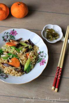 """GoodyFoodies: Recipe: Vegetarian """"Hakka Mee"""" Noodles"""