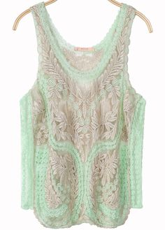 Green Sleeveless Embroidered Lace Vest from Sheinside $16.00- soooo beautiful!
