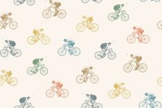 On Yer Bike (LW44/1) - Linwood Wallpapers - A fun and quirky wallpaper design featuring men on bicycles in various different colours on an off white background. Please request a sample for a true colour match. Pattern repeat is 70cm.  Paste-the-wall product.