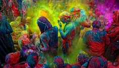 Holi festival in India. My dad always talked about this, so beautiful!