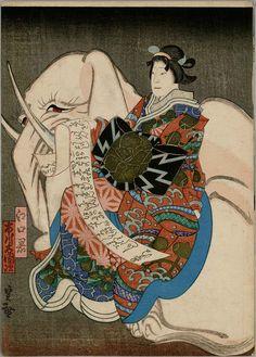 Japanese woodblock prints -  Eguchi no Kimi seated on a recumbent pink elephant representing the Bodhisattva Fugen (1850)