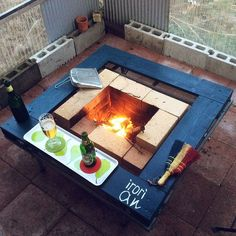 Wood Burner Stove, Irori, Bbq Table, Japanese Tea House, Bbq Area, Diy Camping, Faux Fireplace, Diy And Crafts, Backyard