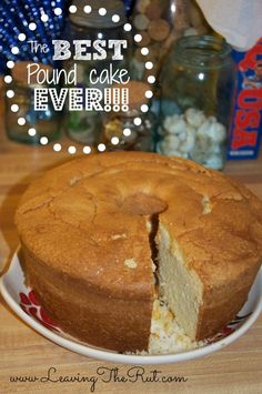 The Best Pound Cake Ever!! What is better than Great-Grandma's pound cake recipe?!?! This is the perfect go-to dessert recipe that will not disappoint! Pin now for when you need a recipe quick later. Serve by itself or add your favorite topping. I love pound cake with a cup of coffee in the morning. The Best Pound Cake EVER!!! http://leavingtherut.com/the-best-pound-cake-ever/