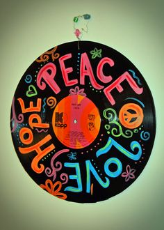 Hand Painted Cher Record Album - Teen Room Recycled Art - Peace Love Hope.