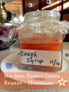 No-Side-Effect Cough Syrup ~ Homemade, cayenne pepper, honey, ginger, medicinal, Apple cider vinegar, herbal remedy, alternative remedy, DIY...