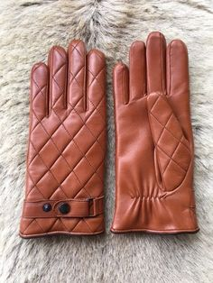 Winter Leather Gloves Men's Cashmere Lining Brown Cognac  #Hungant #WinterGloves