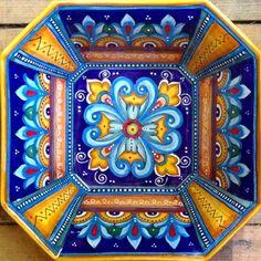 "Bonechi Imports - Deruta Antico Geometrico 12X12"" Octagonal Serving Bowl"