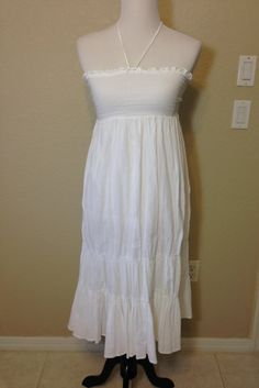 White Cotton Sundress with Smocked Bodice and Spaghetti Straps by Oldtonewjewels on Etsy