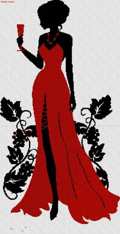 point de croix femme en robe de soirée rouge - cross stitch woamn in a red gown