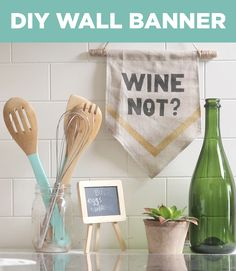 Dress up boring dorm room walls with these easy-to-make DIY banners!