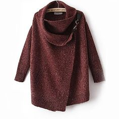 Sheinside® Women's Red Lapel Long Sleeve Ouch Cardigan Sweater