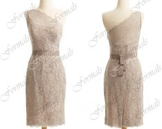 Lace Wedding Dresses Skin Pink Lace Pencil One Shoulder by Formals, $109.00