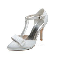 Zapatos de novia - $66.99 - De mujer Satén Tacón stilettos Cerrados Salón con Del bowknot Hebilla (047053949) http://jjshouse.com/es/De-Mujer-Saten-Tacon-Stilettos-Cerrados-Salon-Con-Del-Bowknot-Hebilla-047053949-g53949