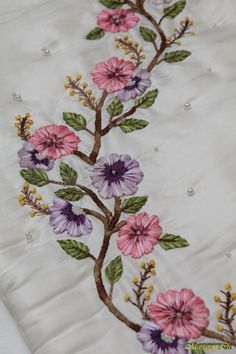 Wonderful Ribbon Embroidery Flowers by Hand Ideas. Enchanting Ribbon Embroidery Flowers by Hand Ideas. Ribbon Embroidery Tutorial, Hand Embroidery Videos, Floral Embroidery Patterns, Embroidery Flowers Pattern, Embroidery Works, Hand Embroidery Stitches, Silk Ribbon Embroidery, Hand Embroidery Designs, Crewel Embroidery
