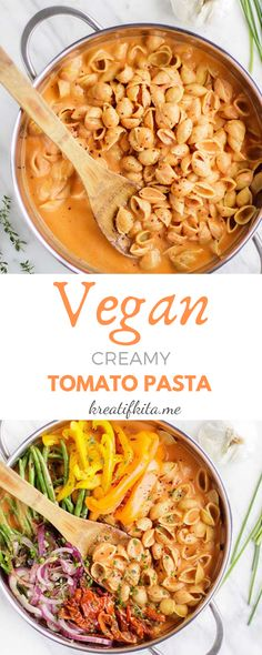 Five Approaches To Economize Transforming Your Kitchen Area Vegan One Pot Pasta With Creamy Tomato Sauce - All Thing Recipes Creamy Tomato Pasta, Tomato Soup, Vegan Creamy Pasta, Vegan Pasta Sauce, Tomato Basil, Pasta Recipes, Cooking Recipes, Cooking Food, Food Food