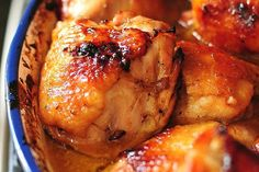 This easy and delicious Honey Soy Baked Chicken Thighs recipe will become a regular feature on your weeknight menu. Honey Chicken Thighs, Easy Baked Chicken Thighs, Honey Soy Chicken, Chicken Breasts, Vinegar Chicken, Glazed Chicken, Chicken Legs, Rice Vinegar, Bbq Chicken