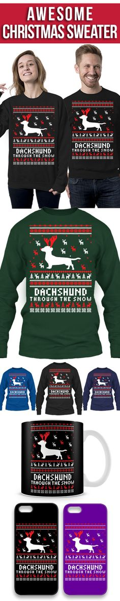 Dachshund Ugly Christmas Sweater! Click The Image To Buy It Now or Tag Someone You Want To Buy This For. #dachshund