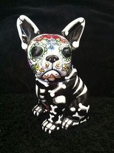Day Of The Dead French Bulldog Cookie Jar Dia De Los Muertos Pet Urn Sugar Skull in Home, Furniture & DIY, Cookware, Dining & Bar, Food & Kitchen Storage | eBay
