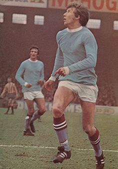 17th January 1970. Manchester City and England midfield star Colin Bell against Stoke City, at Maine Road.