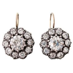 Gorgeous Victorian Old Mine Cut Diamond Cluster Earrings