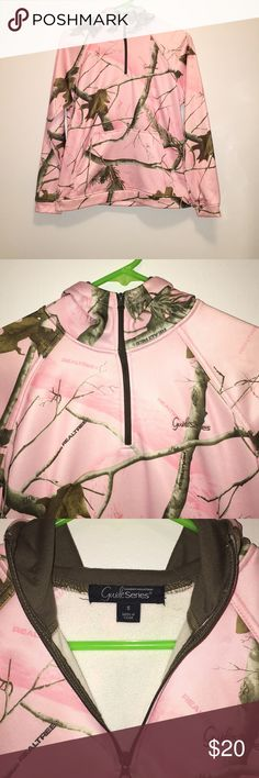 Ladies pink hunter/camo half zip up sweatshirt **NEVER WORN** half zip up woman's pink camo sweatshirt. I have had this sweatshirt hanging in my closet and just have never worn it. Honestly not sure why I haven't, but I'm tired of looking at it and it not being worn by someone, lol. Realtree Other