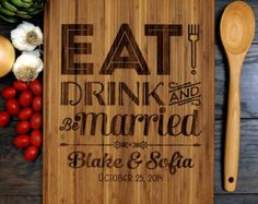 Personalized Wedding Gift Custom Cutting Board by WoodKRFT on Etsy