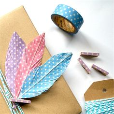 Faux Feathers. Gift Wrap Embellishments.
