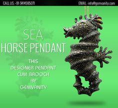 Designer Sea Horse Pendant Cum Brooch