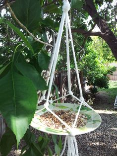 repurposed macrame bird feeder