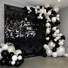 Luxury black and white backdrop hire in Shropshire plus balloon arch and bespoke signage 30th Birthday Ideas For Women, Birthday Party Decorations For Adults, Balloon Decorations Party, Sequin Wall, Sequin Backdrop, White Backdrop, Backdrop Stand, 30th Birthday Parties, Birthday Party Themes