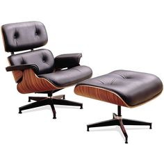 Eames Chair and Ottoman - Eames Lounge Chair Black Leather & Rosewood - Eames Lounge Chair Reproduction - Modern Classic Eames Chair - Eames Chair