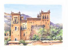 Lami Gérard - Ksar sur la route de Ouarzazate, Maroc (crayon  aquarelle)