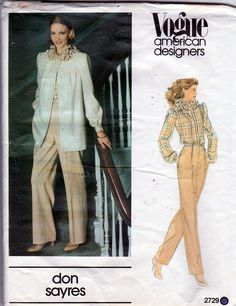 Vogue Sewing Pattern 2729 Don Sayres Vogue American Designer Misses' jacket, pants and blouse. Description: Very loose-fitting, unlined jacket has Modern Sewing Patterns, Vogue Sewing Patterns, Vintage Patterns, New Fashion, Vintage Fashion, Jacket Pattern, American, Blouse, Classic Style