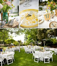 White tablecloths outside...you might want a color or tabletoppers if white isn't bright enough@Caitlan McConnell