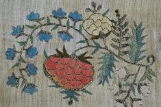 Detail of fragment Turkish embroidery, late 19th century, includes some metal thread